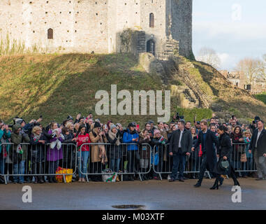 Cardiff, Wales, United Kingdom, 18th January 2018 , Prince Harry and Meghan Markle visiting Cardiff and Cardiff - Stock Photo