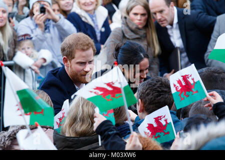Cardiff Castle, South Wales, UK. 18th Jan, 2017. Prince Harry and Meghan Markle visit Cardiff Castle today to an - Stock Photo