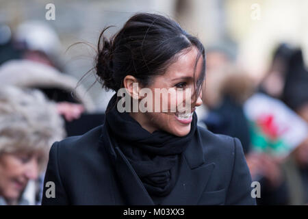 Cardiff, Wales, UK, January 18th 2018. Meghan Markle arrives at a blustery Cardiff Castle. Credit: Mark Hawkins/Alamy - Stock Photo