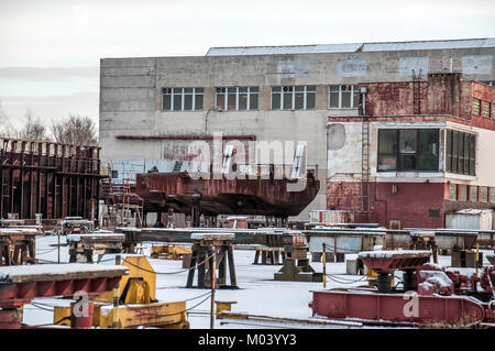Boat Harbor, Chvaletice, Czech Republic, January 18, 2018, almost abandoned a harbor in which about 12,000 tons - Stock Photo