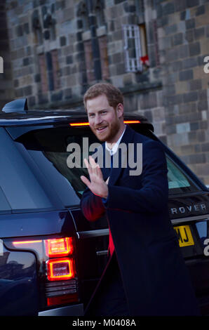 Cardiff, UK. 18th Jan, 2018. Cardiff Castle, Cardiff. 18/01/10. His Royal Highness Prince Henry of Wales leaving - Stock Photo