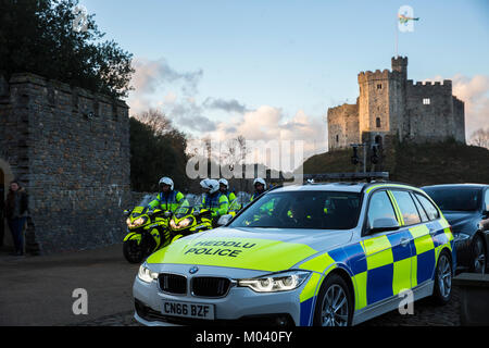 Cardiff, Wales, UK. 18th January 2018. Police escorts preparing to leave cardiff castle with Prince Harry and Meghan - Stock Photo