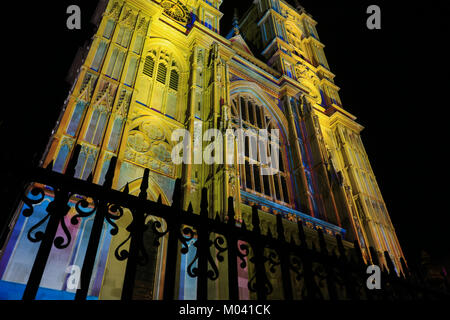 London, UK. 18th Jan, 2018. Westminster Abbey is lit as part of 'The Light of the Spirit Chapter 2' - during the - Stock Photo