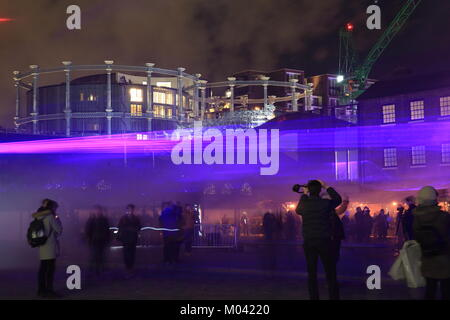 London, UK. 18th January, 2018. The spectacular London Lumiere light festival started on Thursday 18th evening. - Stock Photo