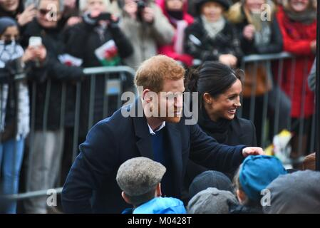 Cardiff, Wales, UK. 18th January 2018. Harry and Meghan greet well-wishers at Cardiff's historic castle in their - Stock Photo