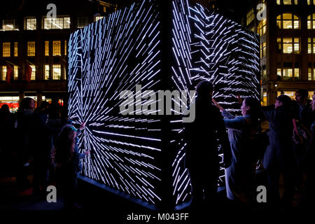 London, UK. 18th Jan, 2018. Lumiere London light festival returns for the second time. More than fifty artworks - Stock Photo