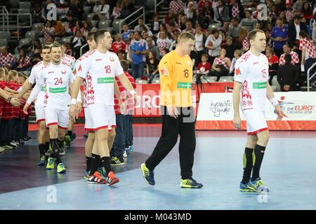 Zagreb, Croatia. 18th Jan, 2018. 18th January 2018, Arena Zagreb, Zagreb, Croatia; 2018 European Mens Handball Championship, - Stock Photo