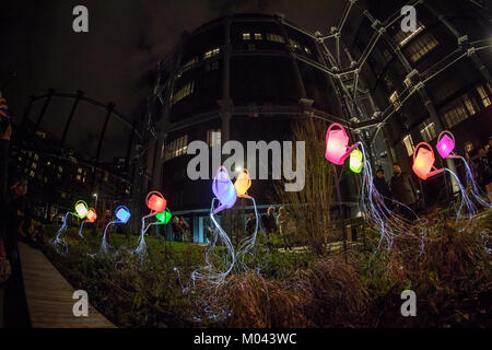 London, UK. 18th Jan, 2018. Guardian Angels, by Maro Avrabou and Dimitri Xenakis at King's Cross as part of Lumiere - Stock Photo