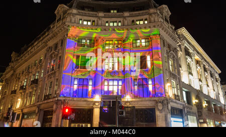 London, UK. 18th Jan 2018. Lumiere London 2018 Lights festival.  Oxford Circus and parts of Regent Street are closed - Stock Photo