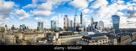 London, UK. 18th Jan, 2018. Panoramic skyline view of iconic modern buildings and skyscrapers in the City of London, - Stock Photo