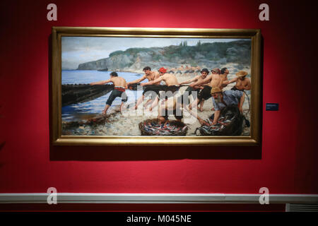 Zagreb, Croatia. 18th Jan, 2018. Painting Dalmatian Fisherman at the Cycle Vlaho Bukovac - Paris period 1877-1893 - Stock Photo