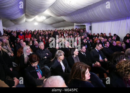 Zagreb, Croatia. 18th Jan, 2018. The audience during Cycle Vlaho Bukovac - Paris period 1877-1893 exhibition opening - Stock Photo