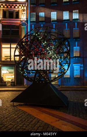 London, UK. 18th Jan, 2018. Lumiere London festival features light installations including Simeon Nelson's Cosmoscope - Stock Photo