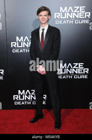 Los Angeles, California, USA. 18th Jan, 2018. Actor Thomas Brodie-Sangster attends 20th Century Fox Red Carpet Fan - Stock Photo