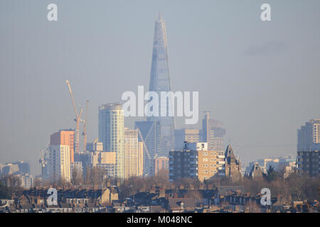 London, UK. 19th Jan, 2018. UK Weather. The London Shard  seen from Wimbledon SW London bathed in beautiful winter - Stock Photo