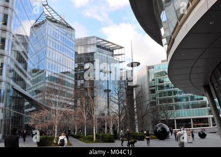 modern and contemporary office buildings in central London at more London place near city hall on the south bank - Stock Photo