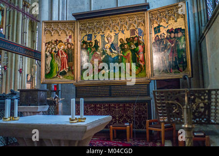 the Dombild by Stefan Lochner in the Lady Chapel Cologne Cathedral - Stock Photo