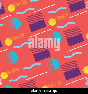 seamless pattern memphis style with simple geometric elements shapes - Stock Photo