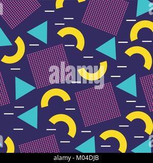 memphis geometric seamless pattern repeating square half circle figure in blue yellow - Stock Photo