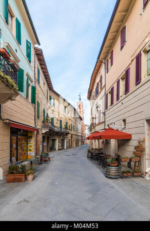 Asciano, Italy - A nice little town in province of Siena, Tuscany region, in the heart of Crete Senesi area. - Stock Photo