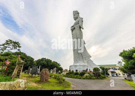 The Tokyo Bay Kannon (Tokyo Wan Kannon), a 56 m high statue representing Guanyin, the Buddhist Goddess of Mercy. - Stock Photo