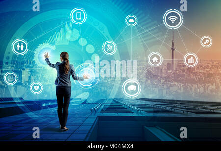 IoT(Internet of Things) concept. Fintech(Financial Technology). ICT(Information Communication Technology). Smart City. Digital Transportation. mixed m Stock Photo