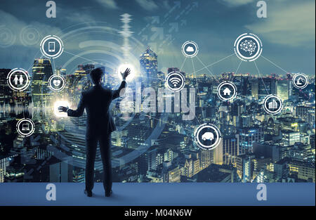 young business person and graphical user interface concept. Artificial Intelligence.  Internet of Things. Information - Stock Photo