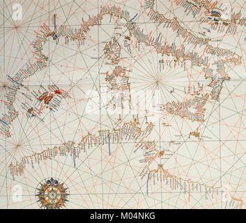 Nautical chart. Atlas of Joan Martines, 1587. Dedicated to Philip II. Mallorcan School. Detail: Western Medierranean. - Stock Photo