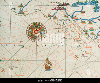 Coast of high and low california and compass rose. Nautical chart. Atlas of Joan Martines, 1587. Dedicated to Philip - Stock Photo