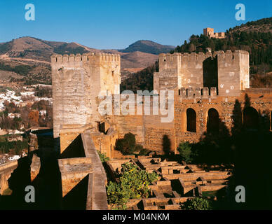 Spain. Granada. The Alcazaba (fortress). Oldest part of the Alhambra. View of the Broken Tower (Torre Quebrada) - Stock Photo