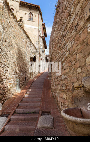 Streets and alleys in the wonderful town of Foligno (Italy) - Stock Photo