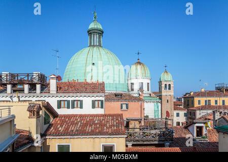 Church domes of the Church of San Simeone Piccolo  along the Grand Canal in Veneto, Venice, Italy, Europe. - Stock Photo