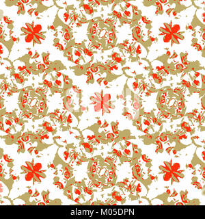 Digital art technique decorative motif seamless pattern design in warm tones against white - Stock Photo