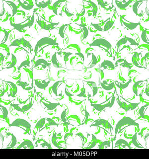 Digital collage technique decorative collage leaves motif seamless pattern design in green tones against white - Stock Photo
