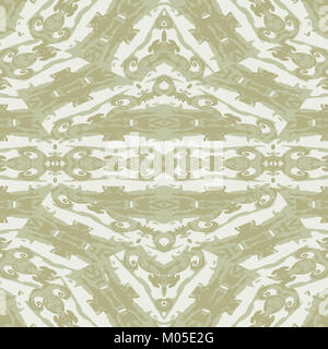 Digital art technique ornate baroque seamless pattern design in pale brown and white colors - Stock Photo