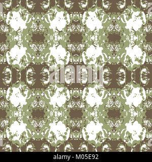 Digital collage technique vintage ornate seamless pattern design in brown and green colors - Stock Photo