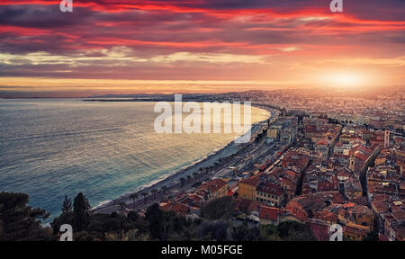 Sunset over the city of Nice - Stock Photo