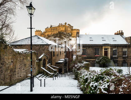 View of Edinburgh Castle after snow from the historic Vennel steps at Grassmarket in Edinburgh Old Town, Scotland, - Stock Photo