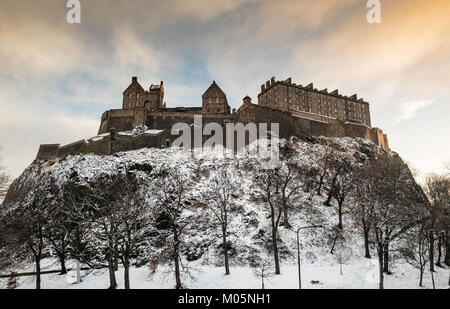 View of Edinburgh Castle after snowfall during winter in  Scotland, United Kingdom - Stock Photo