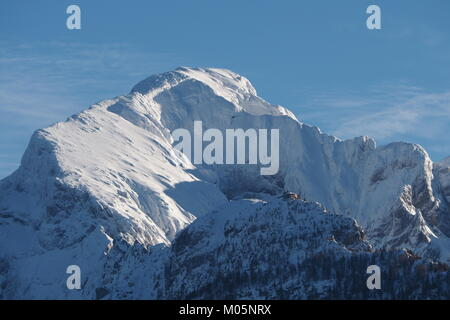 Mt. Hoher Goell and Kehlsteinhaus in winter with lots of snow - Stock Photo