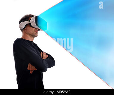 Serious man in black sweater with virtual reality glasses and arms crossed in lateral position and blue projection. - Stock Photo