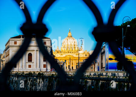 Italy, Rome, City of the Vatican dome of San Pietro seen from the bridge over the Tiber River - Stock Photo