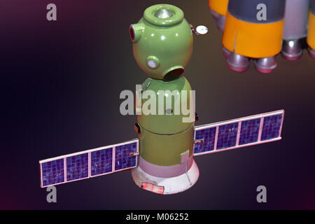 Tim Peakes Soyuz Russian Space Craft capsule including orbiter Shildon Railway Museum - Stock Photo