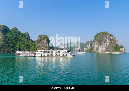 Beautiful Halong Bay landscape view ,it is the UNESCO World Heritage Site. Halong Bay is a beautiful natural wonder - Stock Photo