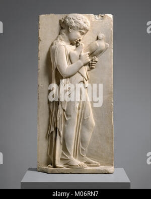 Marble grave stele of a little girl MET DT279 - Stock Photo