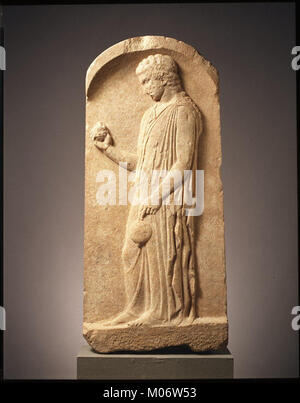 Marble stele (grave marker) of a young girl MET GR43 - Stock Photo