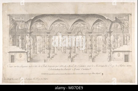 Longitudinal Section of a Ballroom Decorated for the Marriage of the King of Naples to the Archduchess of Austria - Stock Photo