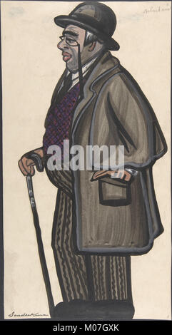 Man wearing a purple and red vest, with a pince-nez and bowler MET DP804824 - Stock Photo