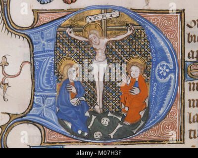 Manuscript Leaf with the Crucifixion in an Initial D, from a Book of Hours MET sf39-81-4d1 - Stock Photo