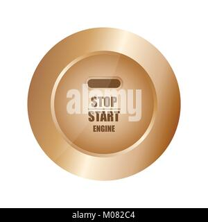 special stop-start engine button - Stock Photo
